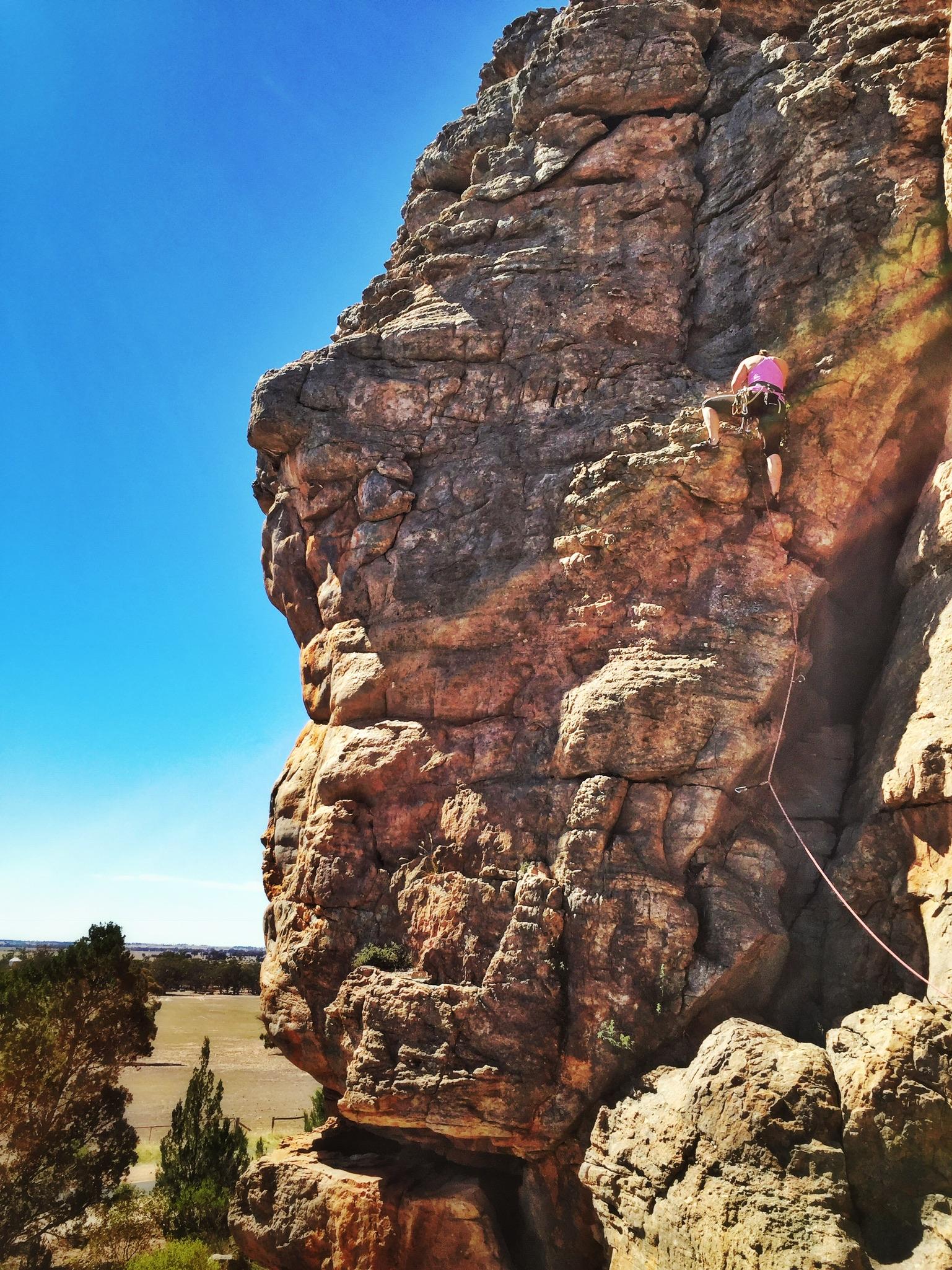 Lead climbing at Mount Arapiles, Australia